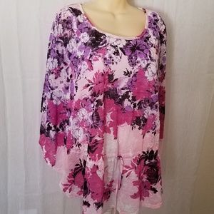 Vibrant Floral Attached Tank Dolman Sleeves Blouse